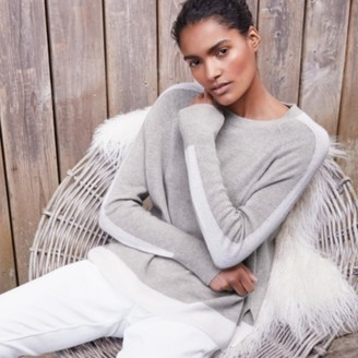 The White Company Overarm Stripe Jumper with Cashmere, Mid Grey Marl, Extra Small