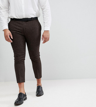 Heart N Dagger plus size skinny cropped trouser in herringbone-Brown