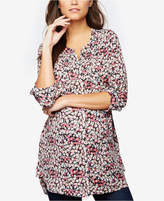 Daniel Rainn Maternity Floral-Print Split-Neck Tunic