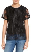Vince Camuto Women's Lace Embroidered Mesh Shell