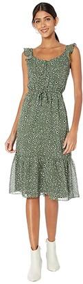 BB Dakota Leopard Printed Chiffon Midi Dress with Flutter Sleeve (Sage) Women's Dress