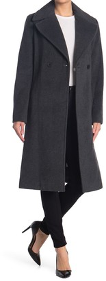 Donna Karan Double Breasted Belted Wool Blend Coat