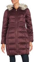 Eliza J Faux Fur Collar Puffer Coat