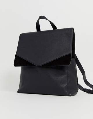 Accessorize black suede and leather backpack