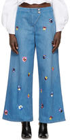 Christopher Kane Indigo Embroidered Baggy Jeans