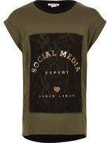 River Island Girls khaki green print lace T-shirt