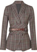 Brunello Cucinelli Belted Plaid Wool Blazer - Gray