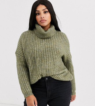 Only Curve chunky rib roll neck knit-Green