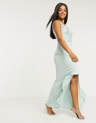Lipsy lace top ruffle front maxi dress in green