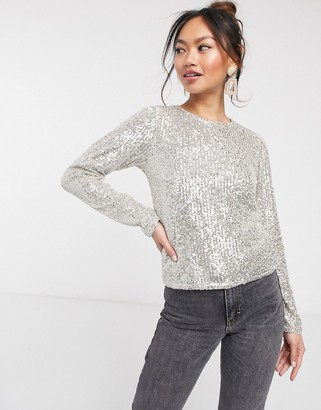 ASOS DESIGN long sleeve top with sequin embellishment in silver