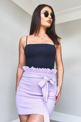 boohoo Paperbag Belted Jersey Mini Skirt