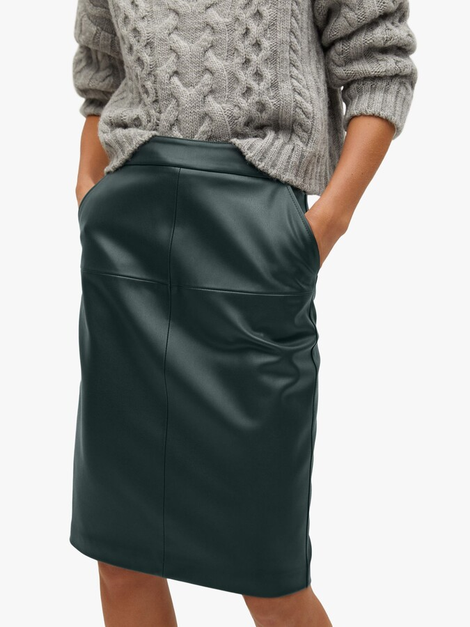 Thumbnail for your product : MANGO Faux Leather Pencil Knee Length Skirt