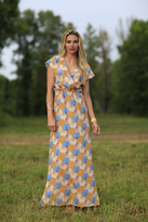 Shabby Apple Delilah Maxi Dress Orange Floral