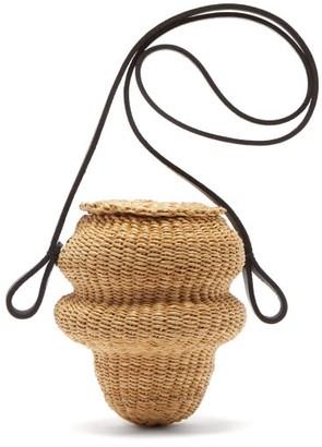 Ines Bressand - N.5 Mini Wave-shaped Straw Bucket Bag - Black Multi
