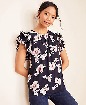 Ann Taylor Petite Floral Embroidered Ruffle Sleeve Tee