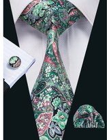 Hi Tie Hi-Tie Men's New Allover Floral Necktie Set with Hanky Cufflinks