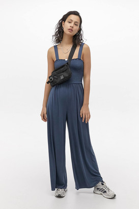 Urban Outfitters Smocked Cupro Jumpsuit