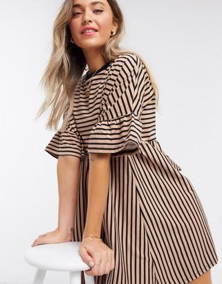 ASOS DESIGN super oversized frill sleeve smock in mink and black stripe