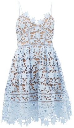 Self-Portrait Azalea Floral Guipure-lace Dress - Light Blue