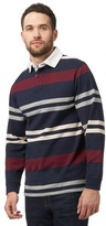 Maine New England Big And Tall Navy Long Sleeve Stripe Polo Shirt