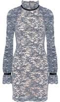 Rebecca Vallance Velvet-Trimmed Corded Lace Mini Dress