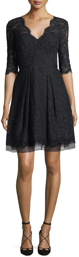 Carolina Herrera Half-Sleeve V-Neck Lace Cocktail Dress, Black