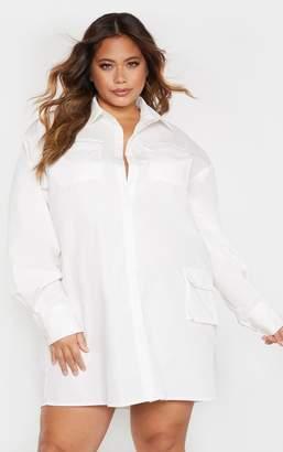 PrettyLittleThing Plus White Pocket Detail Long Sleeve Shirt Dress