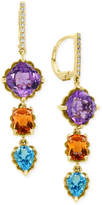 Effy Multi-Gemstone (9-1/4 ct. t.w.) and Diamond Accent Drop Earrings in 14k Gold