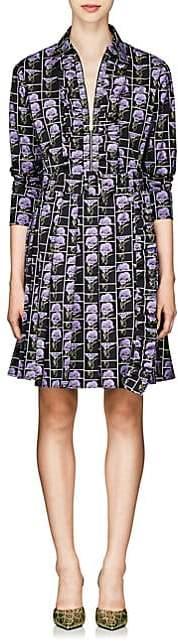 Prada Women's Poppy-Print Stretch-Cotton Poplin Shirtdress - Purple