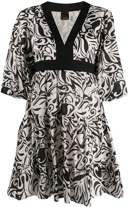 Pinko Abstract-Print Flared Dress