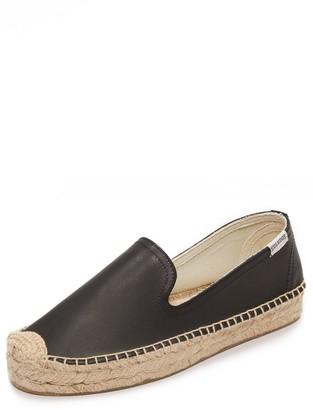 Soludos Women's Platform Smoking Slipper Leather Flat