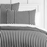 Pottery Barn Teen The Emily &amp Meritt Cabana Stripe Duvet Cover, Full/Queen, Black/White