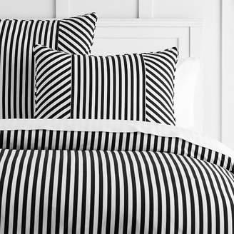 Pottery Barn Teen The Emily &amp Meritt Cabana Stripe Duvet Cover, Full/Queen, Black/White