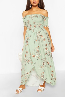 boohoo Petite Floral Shirred Wrap Front Maxi Dress