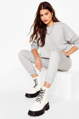 Nasty Gal Womens Work Things Out Sweater and Joggers Lounge Set - Grey Marl