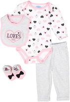 Bon Bebe Pink & Gray Hearts Bodysuit Set - Infant