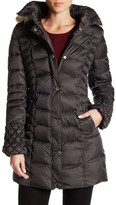 Betsey Johnson Faux Fur Trim Hooded Puffer Jacket