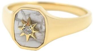 BONDEYE JEWELRY 14kt gold diamond Josie signet ring
