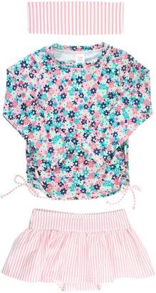 RuffleButts Water Lilies Two-Piece Rashguard Swimsuit & Head Wrap Set