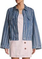 ENGLISH FACTORY Striped Bell Sleeve Denim Jacket
