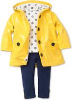 Little Me 3-Pc. Hooded Jacket, Daisy-Print T-Shirt & Leggings Set, Baby Girls