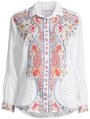 Johnny Was Workshop Tikal Embroidered Linen Shirt