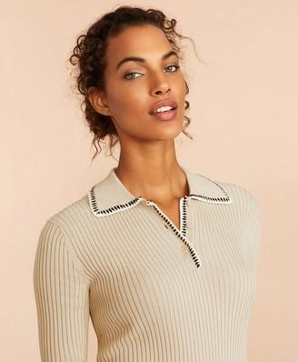 Brooks Brothers Rib-Knit Cotton Polo Sweater
