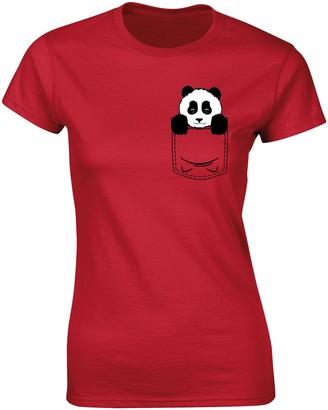 Flip Womens Pocket Panda Bear Cute Animal Print T-Shirt Red UK 12-14 (XL)