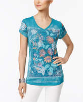 Style&Co. Style & Co Floral Graphic T-Shirt, Created for Macy's