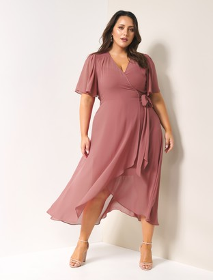 Forever New Emmaline Curve Wrap Maxi Dress - Regal Mauve - 16