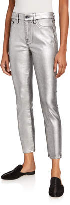 7 For All Mankind Jen7 by Coated Leopard-Print Metallic Skinny Jeans