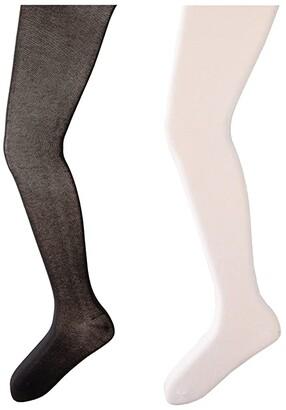 Jefferies Socks Seamless Organic Cotton Tights 2-Pack (Infant/Toddler/Little Kid/Big Kid) (White/Black) Hose