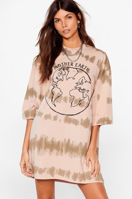 Nasty Gal Womens Down to Mother Earth Graphic Tie Dye Dress - Brown