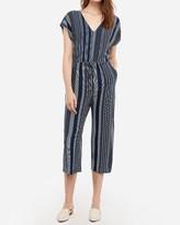 Express Printed V-Neck Drawstring Culotte Jumpsuit